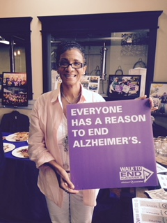 Kim Willis with Alz sign